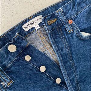 RE/DONE Wide Leg Crop Denim Jeans Dark Wash Levi's